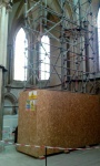 The man himself, or at least his tomb, covered with a scaffolding tower. Grosseteste.