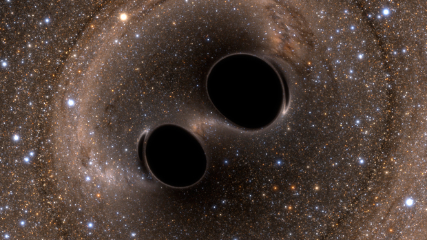 Artistic rendition of the merging black holes that gave rise to the gravitational waves reported in February 2016. Image from LIGO collaboration