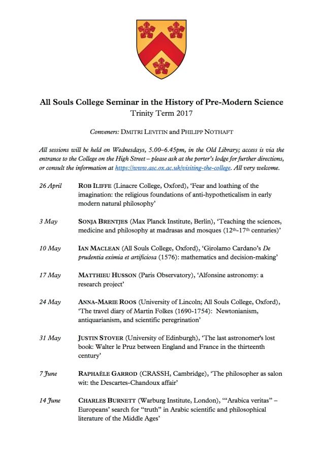 History of Science Seminar Programme - Trinity 2017